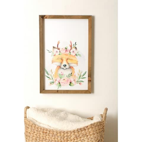 Woodland Fox Wooden Framed Art Print