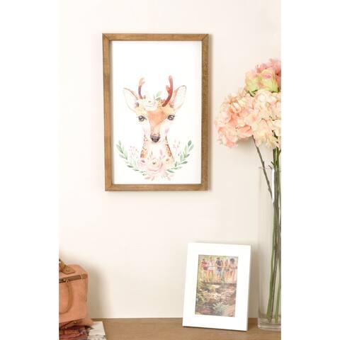 Woodland Deer Wooden Framed Art Print