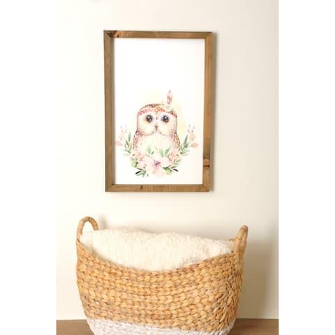 Woodland Owl Wooden Framed Art Print