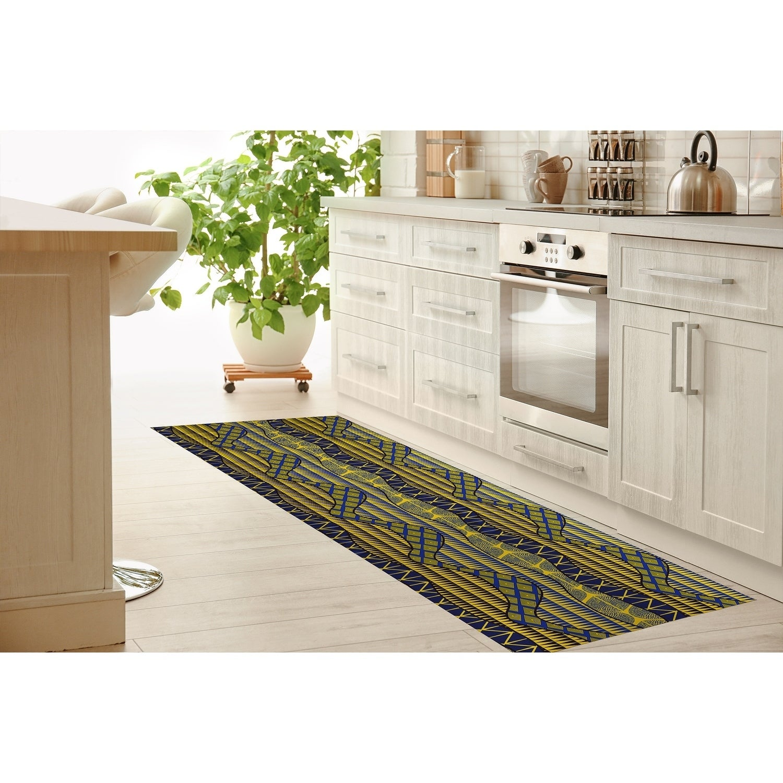 WRAP BLUE & YELLOW Kitchen Mat by Kavka Designs