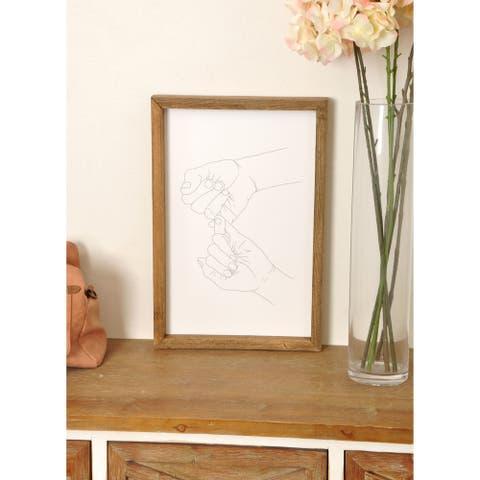 Pinky Promise Minimal Wooden Framed Art Print