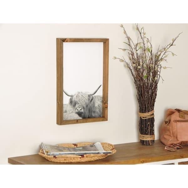 Modern Rustic Bull Wooden Framed Art Print Overstock 31138608