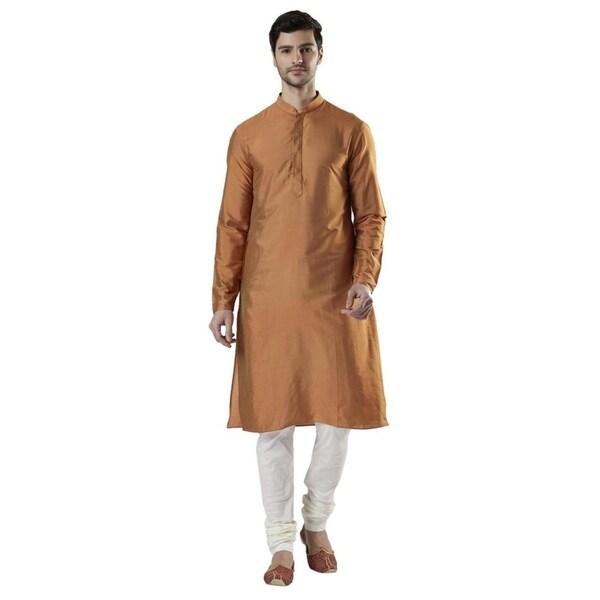 Ethnix Mens Indian Banded Collar Silk Blend Kurta Tunic Pajama Set