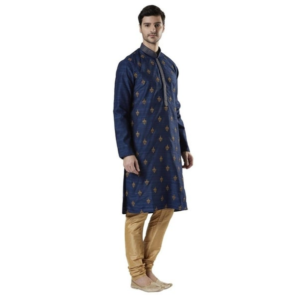 Ethnix Mens Indian Banded Collar Embroidered Kurta Tunic Pajama Set by  Discount