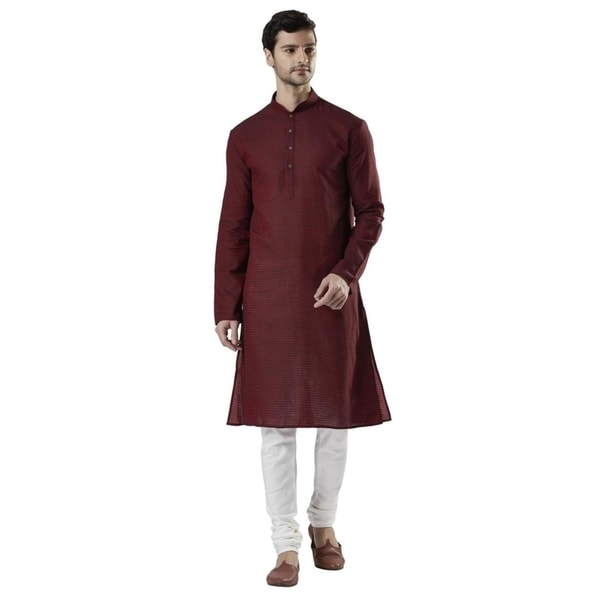 Ethnix Mens Indian Banded Collar Fine Textured Kurta Tunic Pajama Set