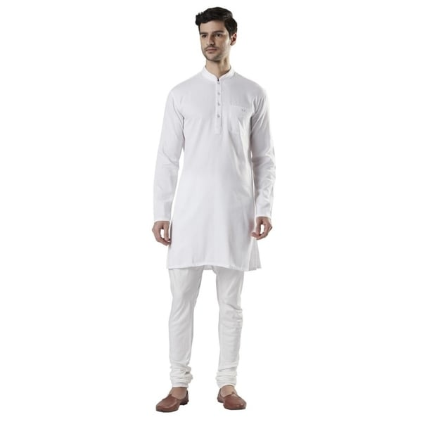 Ethnix Mens Indian Band Collar Cotton White Kurta Tunic Pajama Set