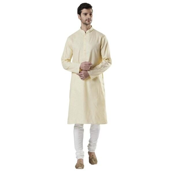 Ethnix Mens Indian Hand-Embroidered Placket Kurta Tunic Pajama Set