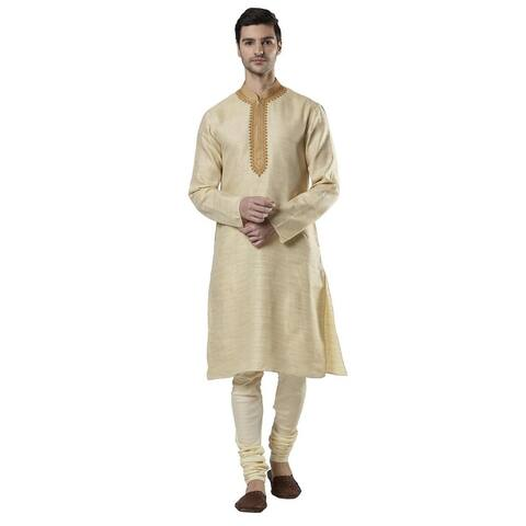 Ethnix Men's Indian Band Collar Embroidered Kurta Tunic Pajama Set