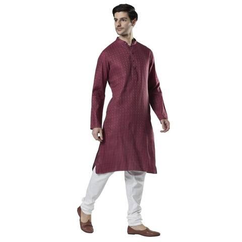 Ethnix Men's Indian Band Collar Dobby Print Kurta Tunic Pajama Set