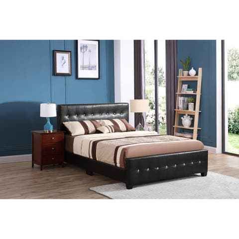 Diamond Jewel Tufted Faux Leather Bed