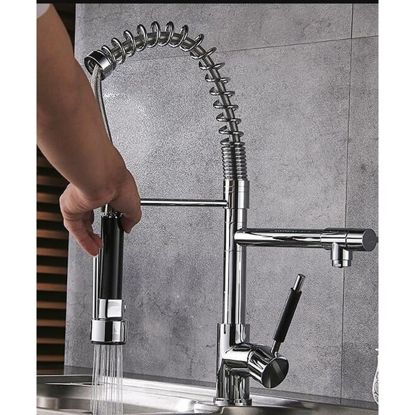 2pc Highlanderhome Modern Kitchen Faucet Double Head Chrome Finished Doublehead Chrome 2pc Overstock 31139238