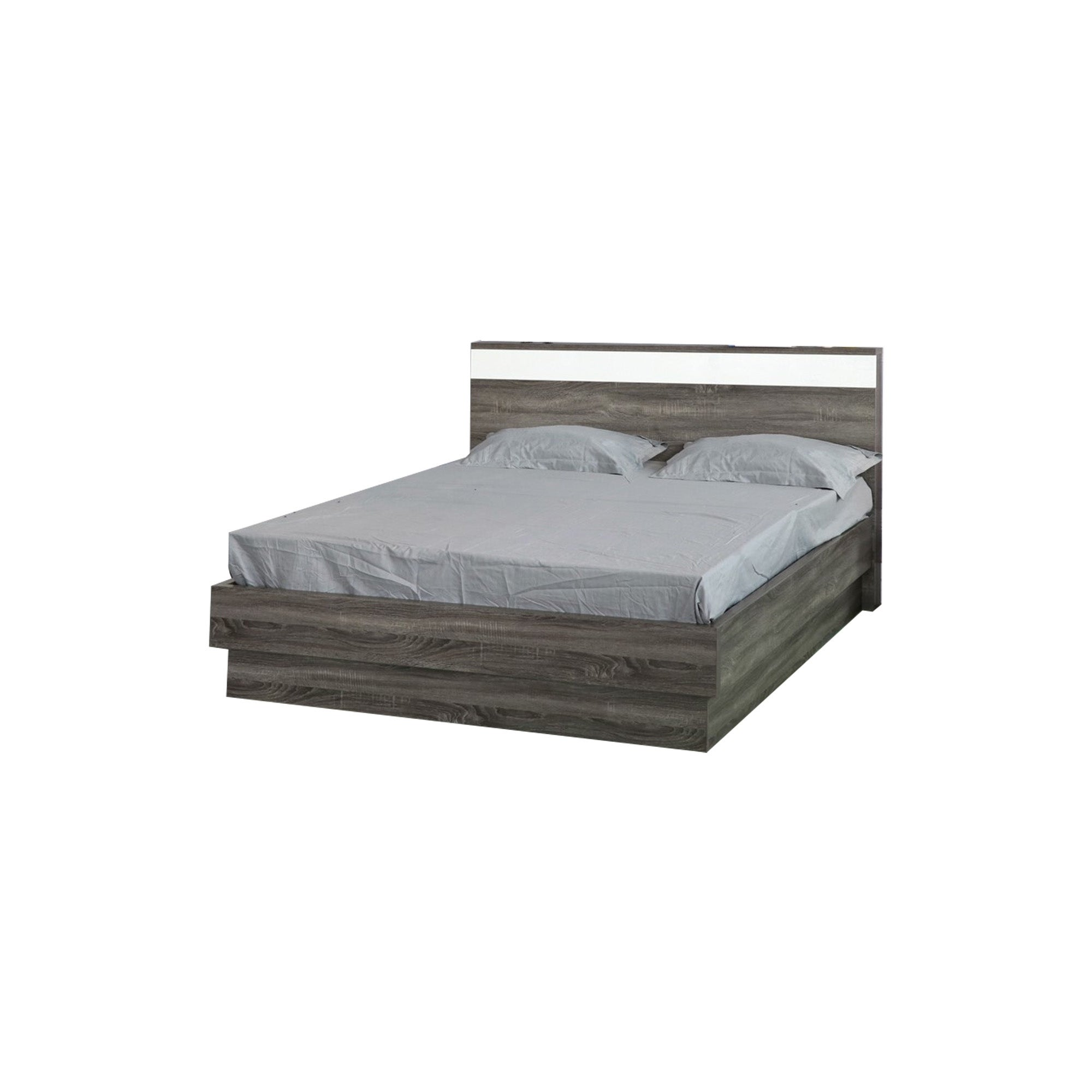 Picture of: Wooden Frame Queen Platform Bed With Floating Plinth Base Gray And White Overstock 31140368