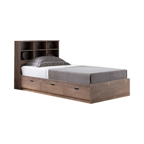 Wooden Frame 3 Drawers Twin Size Chest Bed, Hazelnut Brown