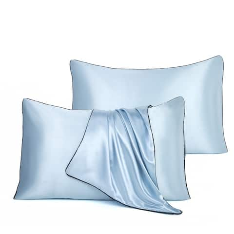 Glitzhome Set of 2 Pipping Cord Style Memory Satin Pillowcase