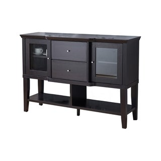 Link to Wooden Buffet with 2 Glass Door Cabinets and 2 Drawers, Dark Brown Similar Items in Dining Room & Bar Furniture