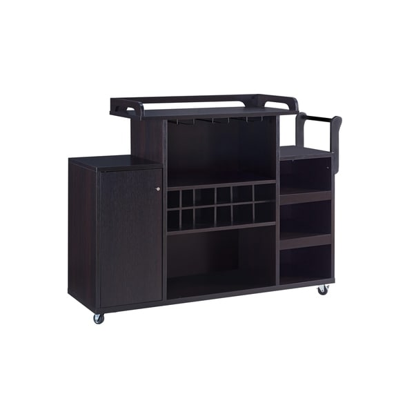Casters Supported Wooden Buffet Cart with Wine Rack and 1 Door Cabinet, Brown