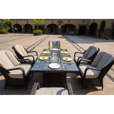 7 Piece Patio Wicker Gas Fire Pit Set Rectangular Table with Six Arm Chairs