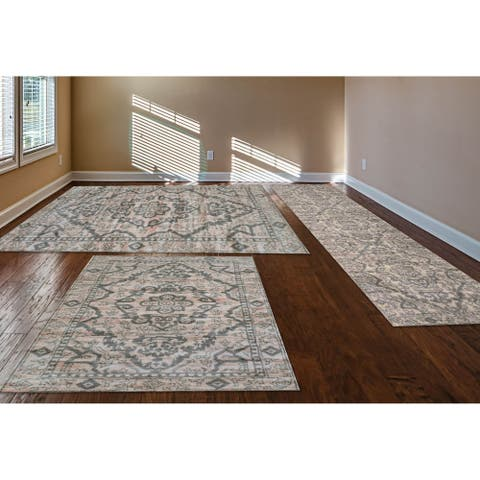 Admire Home Living Catherine Three Piece Area Rug Set (5x8, 4x6, 2x8) - 8' Runner/5'x8'/4'x6'