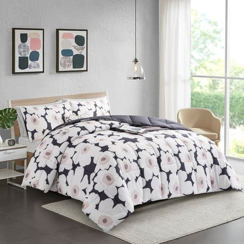 Year Round Floral Printed Reversible Solid Grey Down Alternative Comforter Set