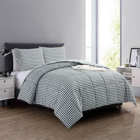 Year Round Reversible Red Plaid Print to Solid Black Down Alternative Comforter Set