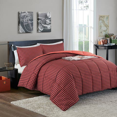 Year Round Reversible Plaid Print to Solid Red Down Alternative Comforter Set