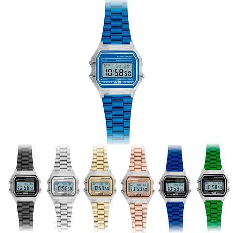33MM Retro Digital Metal Band Watch with Clear Case