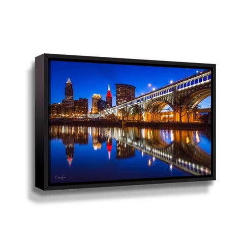 Cleveland Skyline from the West Bank of the Flats Reflection by Cody York Gallery Wrapped Floater-framed Canvas