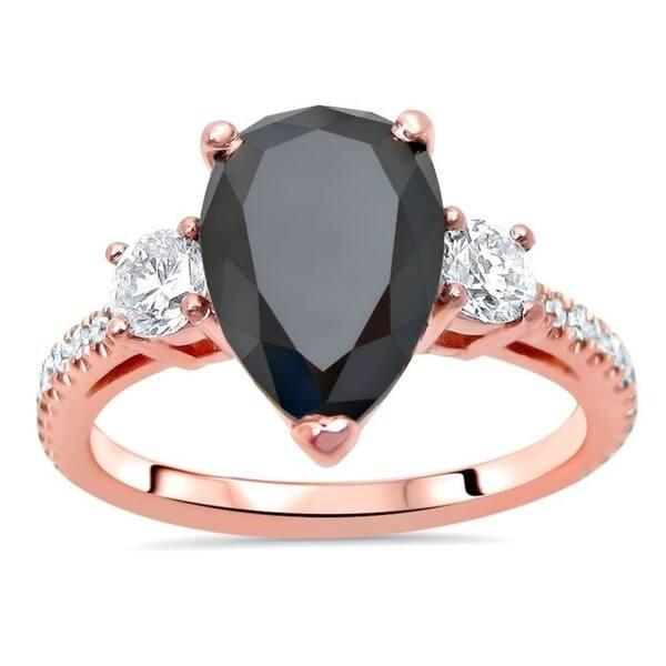 Shop 14k Rose Gold 3 Ct Black Diamond Pear Shape 3 Stone Engagement Ring On Sale Overstock 31141812