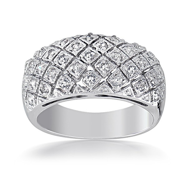 Icz Stonez Sterling Silver Pave-set Cubic Zirconia Ring