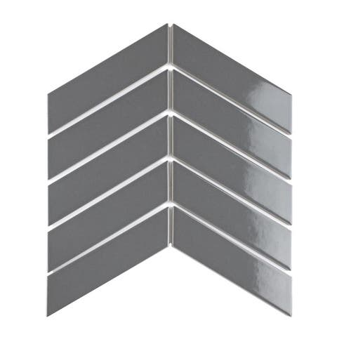 SomerTile 1.75 x 7-Inch Victorian Soho Chevron Glossy Grey Porcelain Floor and Wall Tile (10 Tiles/1 sqft.)