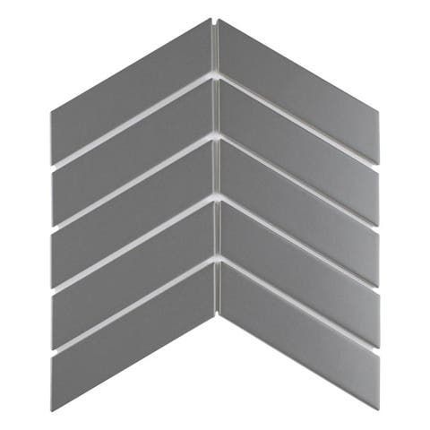 SomerTile 1.75 x 7-Inch Victorian Soho Chevron Matte Grey Porcelain Floor and Wall Tile (10 Tiles/1 sqft.)