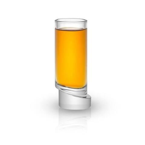 JoyJolt Round Aqua Vitae 1.69 oz Crystal Shot Glasses, Set of 4