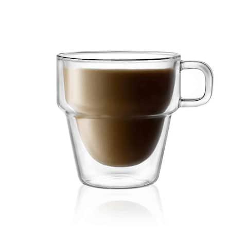 JoyJolt Stoiva Stackable Double Wall Insulated Coffee Mugs, 11.5 oz Teacup Set of 4