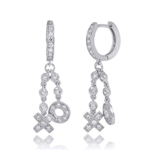 "0.50 Carat XOXO Huggs & Kisses Dangle Earrings Solid Silver 1.75"" in"