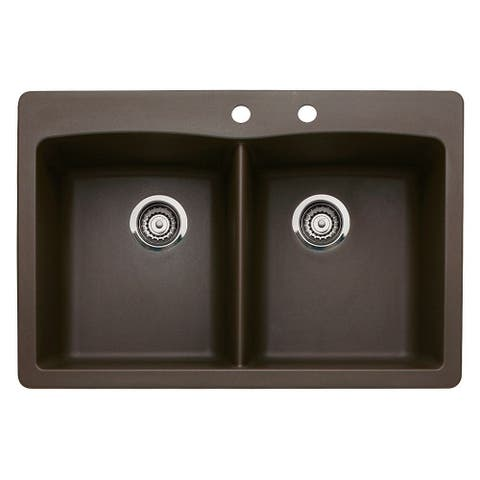 Blanco Diamond 22-In X 33-In Double-Basin Granite Multi-Mount Kitchen Sink