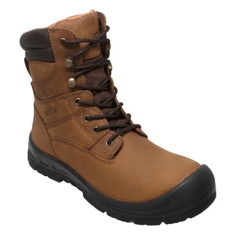 Men 8 inch Steel Toe Waterproof Work Boot Brown