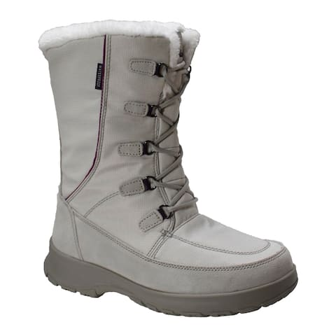 Womens Waterproof Nylon Upper Winter Boot with Suede Trim
