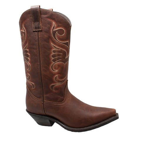 Women 12 inch Full Grain Oiled Leather Western Boots Brown