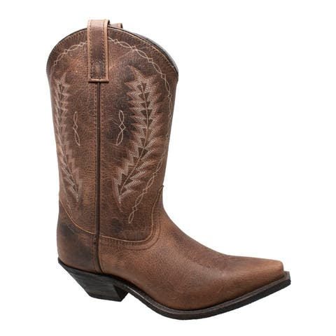 Women 11 inch Crazy Horse Western Point Toe Boots Brown