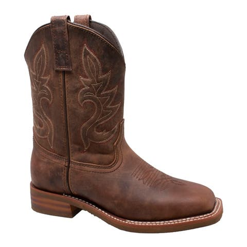 Women 10 inch Western Square Toe Boots Brown