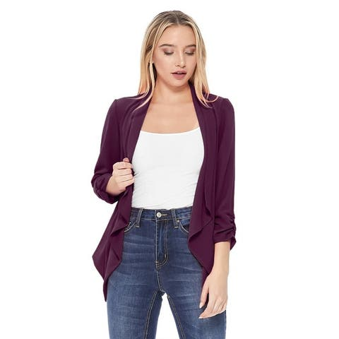 Solid Basic Casual Draped Ruched Sleeve Outerwear Vest Cardigan