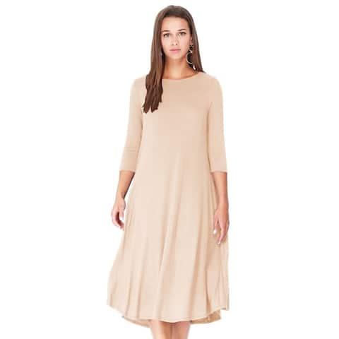 Solid Basic Casual Slightly Curved Hem Bottom Midi Dress