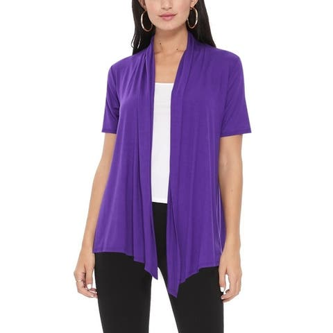 Women's Loose Fit Short Sleeve Solid Cardigan Sweater