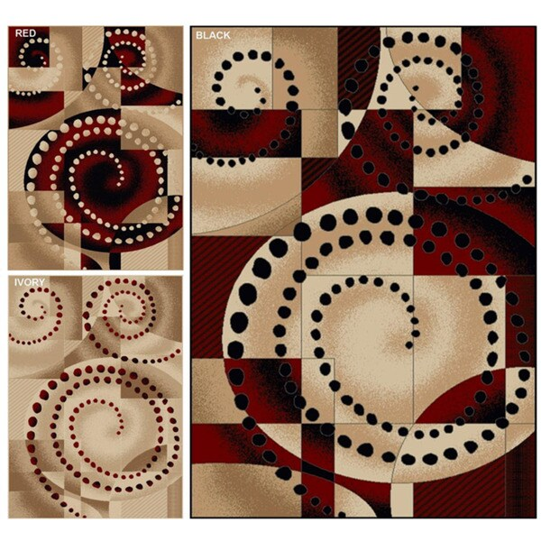 Virginia Spiral Geometric Contemporary Rug (5'5 x 7'7)