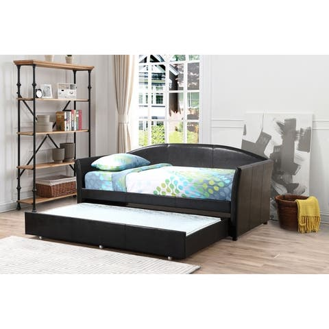 Adriana Faux Leather Daybed with Trundle
