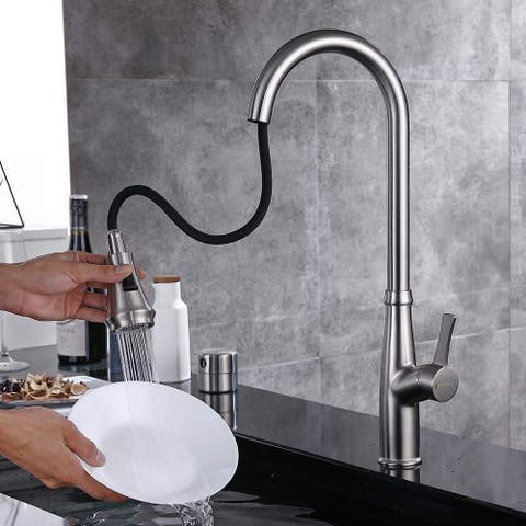 Chrome Pull Down Single Handle Kitchen Faucet