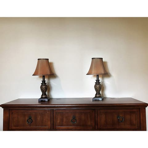 """Set of 2-19""""H Dark Goldenrod Floral Accent Table Lamps"""