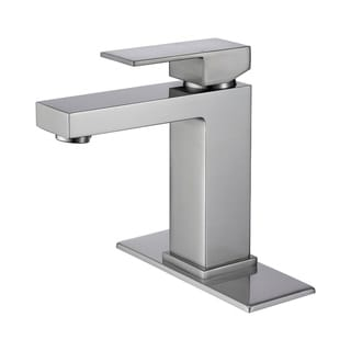 Nickel Single Hole Vanity Sink Faucets with Deck Plate