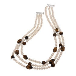 DaVonna Silver White FW Pearl and Tiger's Eye 3-row Necklace (4-5 mm)