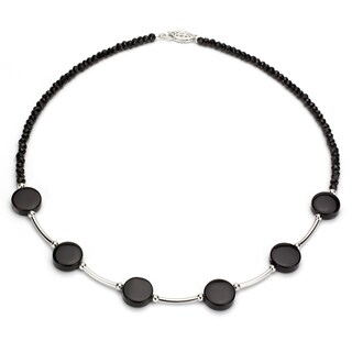 DaVonna Fancy Silver Black Onyx and Black Agate 16-inch Necklace